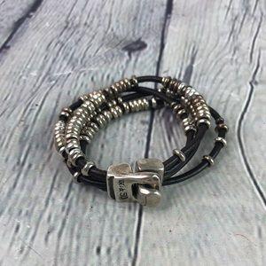 Uno de 50 Leather Multi Strand Black Silver